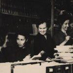 На снимке (слева направо) Неля Федоровна Большакова, Т.Н. Кирилловских, Г.Г. Романова, Л. Г. Брик. Начало 60-х гг.